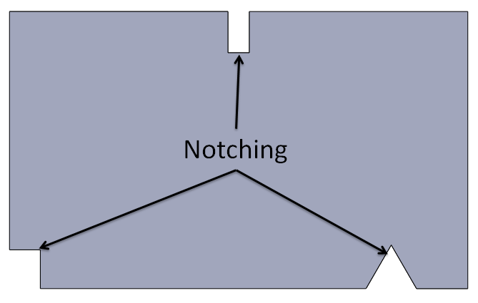 Notching is a sheetmetal cutting operation to remove material from work piece. It is used to provide relief to sheet metal bend area.
