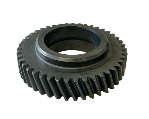 Helical gears have teeth inclined to the gear axis. For the same width, helical gears have longer teeth compared to spur gears.