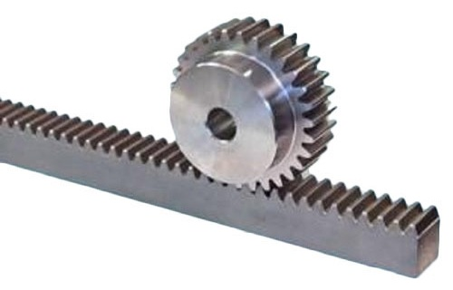 A rack is a cylindrical gear with infinite radius. Whereas pinion is a spur gear. They are used to convert rotational motion into linear motion.