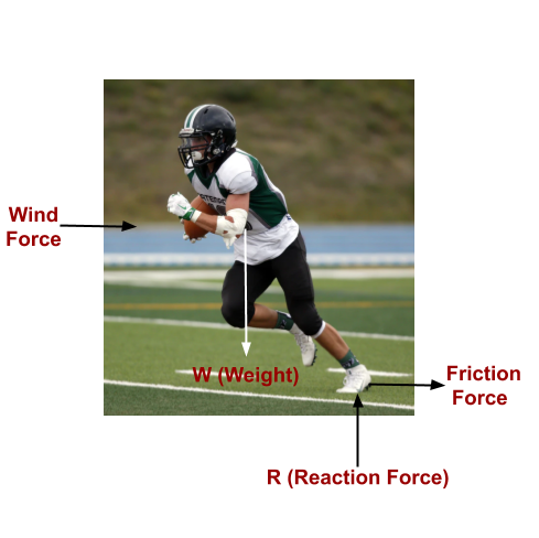 This image shows the Free body diagram of running player.