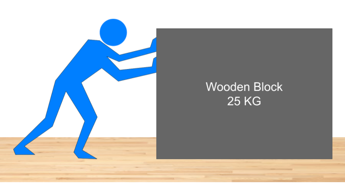 Man Pushing Wooden Block on wooden flooring