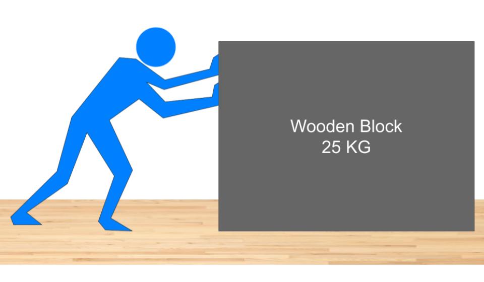 Man Pushing Wooden Block on wooden flooring