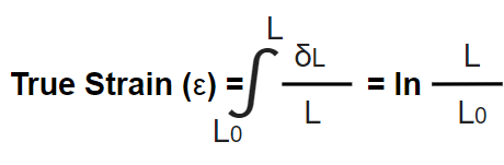 This image shows the formula to calculate true strain value.
