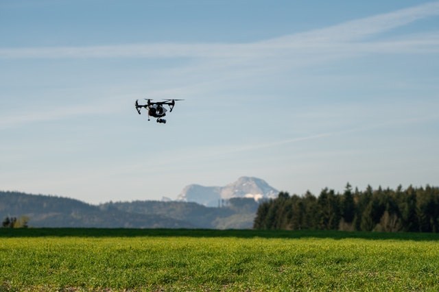 Drones are used in smart farming for crop maintenance.