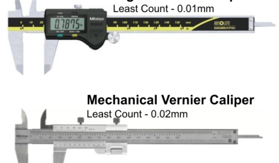 Digital Vernier least count is 0.01 mm. Whereas mechanical vernier LC is 0.02 mm.