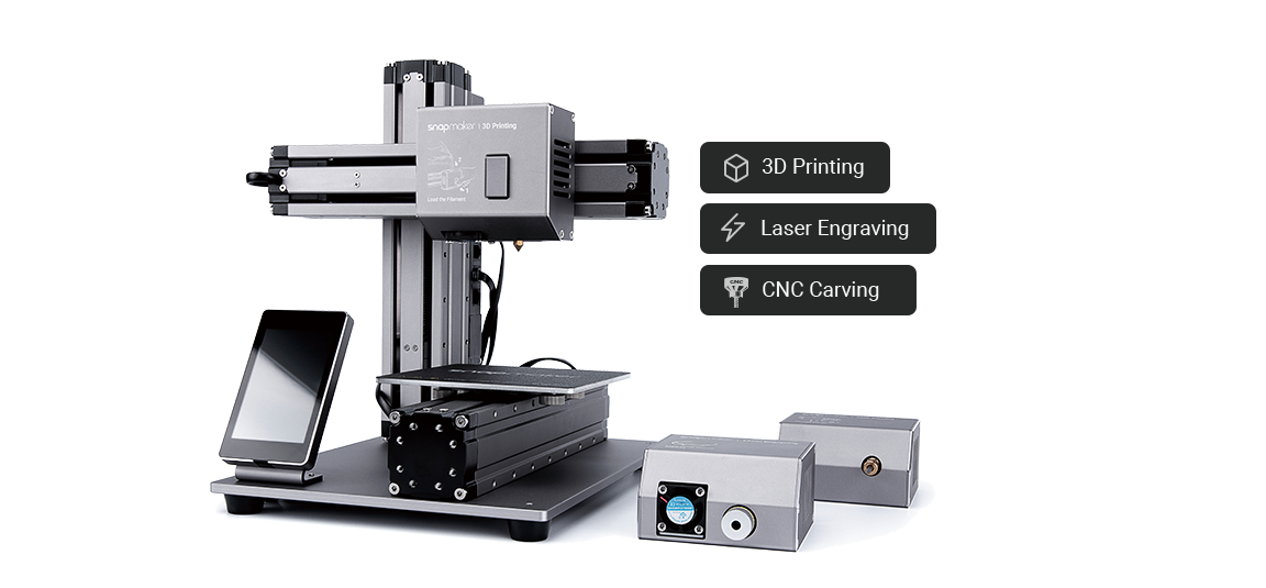 This image shows snapmaker 3-in-1 laser engraving, cnc cutting and 3D printing machine.