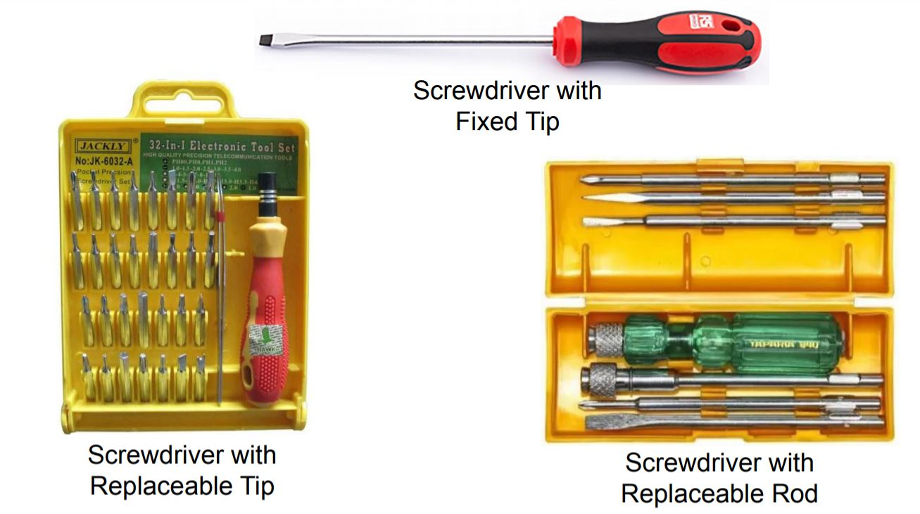 This image shows a different types of manual screw driver.